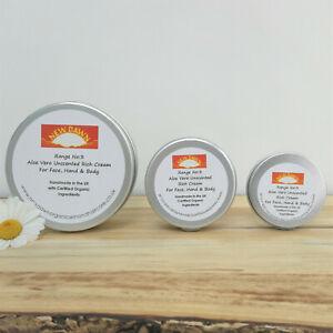 ORGANIC RICH CREAM - Unscented Aloe Vera Moisturiser for Very Sensitive Dry Skin