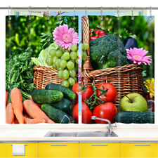 Fruits and Vegetables Kitchen Curtains 2 Panel Set Decor Window Drapes 55x39 In
