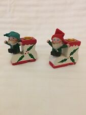 Vintage Miniature Wooden Elf Candle Holders~Used Condition