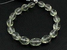 """7.5"""" Natural Green Amethyst Laser Cut Faceted Oval Nugget Gemstone Beads 001"""