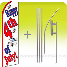 Happy 4Th Fourth Of July Swooper Flag Kit Feather Flutter Banner Sign 15'- wq