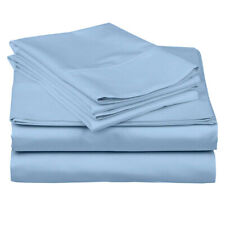 Premium Quality 100% Cotton 3 Pcs Fitted Sheet Blue 1000 Tc with Drop Pocket
