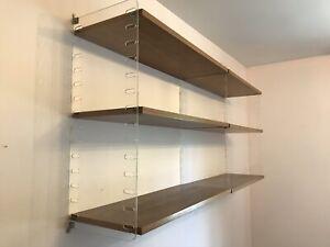 Mid Century Modern Wall Shelf - Wood And Acrylic