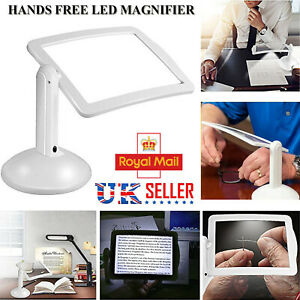 LED Magnifying Glass Foldable Stand Magnifier With Light Lamp Hands Free Clamp