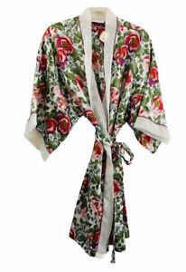 Cacique Women's Floral Watercolor Robe Tie Belt Sz Large Knee Length Pockets