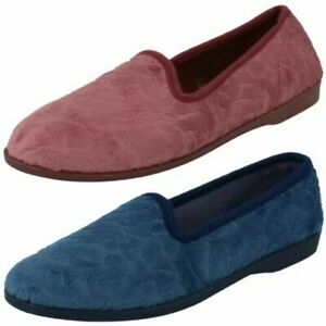 Ladies Spot On Flat Casual Slip on Textile Home Comfort Slipper Shoes X2R026