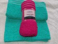 Mainstays Beach Towel  27 x 58 Inches 100% Cotton Durable Absorbent Magenta/Teal