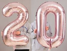 20th Birthday Party 40 Foil Balloon HeliumAir Decoration Age 20 Rose Gold Lite