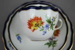 Meissen Porzellan Kaffeegedeckt 3Tlg Kobalt Blau Tasse Blumen NEU  NR.5