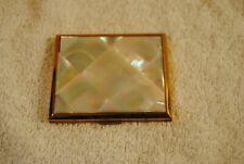 Vintage 1940 Square Loose Powder White Compact Mirror Gold Tone
