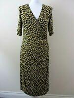 M&S Woman dress size 14 stretch black sml yellow flowers wrap style pretty smart