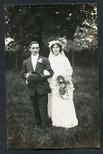 C1910s: Wedding Photo Card of Bride & Groom: Cousin Amy