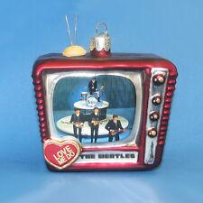"""KURT S. ADLER BEATLES™ """"LOVE ME DO"""" TV GLASS CHRISTMAS ORNAMENT ON ED SULLIVAN"""
