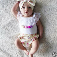 Baby Toddler Girls 3PC Clothes Outfits Lace Cotton Tops+Briefs PP Pants Headband