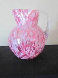 VICTORIAN PINK SPLATTER GLASS COIN DOT PITCHER REEDED APPLIED HANDLE