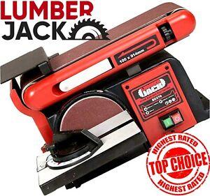 Belt and Disc Sander Bench Top Linisher Heavy Duty Motor Cast Base Lumberjack