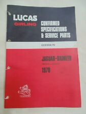 Lucas Parts Catalogue Jaguar range inc  E type 1970 CCE906/70