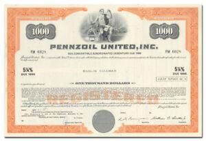 Pennzoill United, Inc. Bond Certificate
