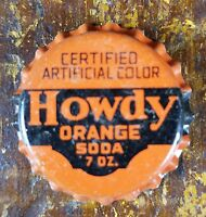 HOWDY ORANGE SODA 7 OZ SIZE NOS NEW OLD STOCK CORK LINED BOTTLE CAP LID