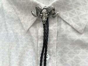 Ram Skull Bolo Tie Western Mens Necktie Leather Necklace Bola Animal Skeleton