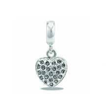 DaVinci Beads Clear Cz Heart Dangle Charm Db11-4 - Buy 2 or More, Save 10%