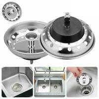 1 x Sink Strainers Kitchen Stopper Stainless Steel Drain Basket Waste Plug HOT