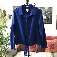 CHICO'S sz 3 XL Royal Blue No-Iron Button Front Shirt Tie Waist