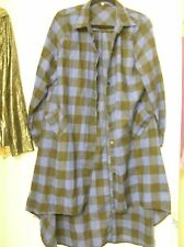 Royal Blue black plaid flannel ish button down tunic shirt duster XL 1X 2X