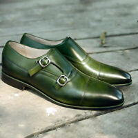 Mens Handmade Formal Party Double Monkstrap Olive Green Calf Skin Leather Shoes