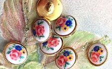 """3/8"""" Vintage Glass buttons,Floral Buttons,Limoges Buttons,Flower buttons #1484C"""
