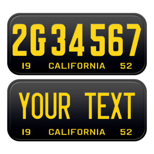 1 x Custom Personalized 1952 California License Plate with YOUR TEXT