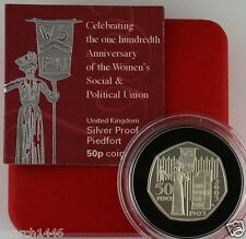 2003 Suffragettes Silver Proof Piedfort 50p Fifty Pence Coin, COA, Box