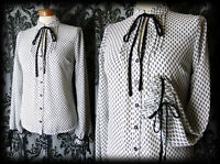 Gothic White Patterned GOVERNESS High Neck Tie Blouse 8 10 Victorian Vintage