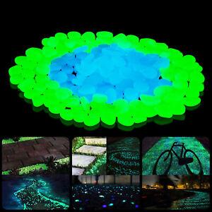 50Pcs Pebbles Stone Glow in the Dark Rock Fish Tank Stones Garden Road Decor