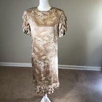 Vintage 80's Lauren Alexandra 100% Silk Dress 10 Pink/Tan Ruffled Sleeve Slip