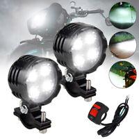 2x 40W Motorrad LED Lampe Zusatzscheinwerfer Fernlicht Scheinwerfer + Schalter