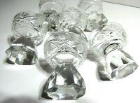 "Antique Cut Glass Crystal Cordial Set Beveled Prism Stems Bar Liqueur 2.5"""