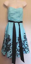Jane Norman UK8 EU36 US4 aqua strapless dress with black floral detail & net hem