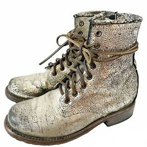 Freebird Manchester Sz 7 Silver Metallic Crackle Lace Up Leather Combat Boots