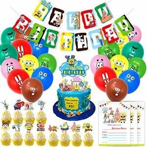 Nelton Birthday Party Supplies For Spongebob Includes Banner-Cake Topper and..