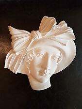 Art Deco Hat Lady Face plaster wall hanging decorative plaque Art Nouveau new