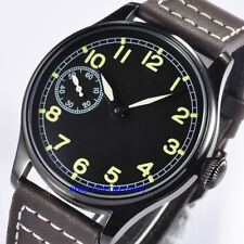 Seagull 6497 Movement 44mm Men's Parnis Hand Winding Watch Luminous Numbers Dial