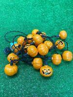 Vintage 1980s Halloween Pumpkin Jack O'Lantern String Lights Blow Mold Mini