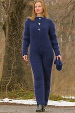 Hand knitted blue mohair catsuit sweater SUPERTANYA fuzzy ski bodysuit SALE