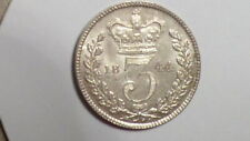 More details for 1844 silver threepence. large 44. unc. lustrous. rare. victorian. british. 1841