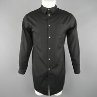 COMME des GARCONS HOMME PLUS Size S Black Cotton Button Up Longline Shirt