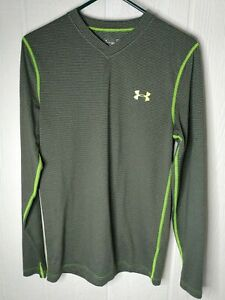 Under Armor Womens Fitted Coupe Ajustee Cold Gear Gray Striped Lime Stretch Sz S