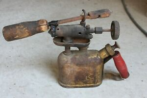 Vintage Brass Blow Torch With Copper Head Soldering Iron Wood Handle Tool