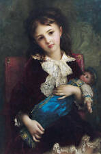 Oil painting beautiful young girl holding her favourite doll seated on sofa