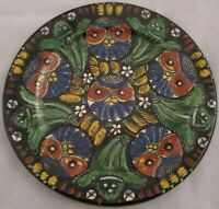 """Thoune Faience Owl Plate Majolica Hand Painted Switzerland 19th c 7 3/4"""" Antique"""